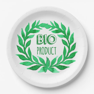 Bio Product Green Watercolor Farm Fresh Food Paper Plate