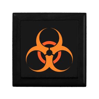 Biohazard biological hazard symbol orange small square gift box