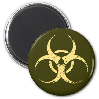 Biohazard -dist -yellow 6 cm round magnet