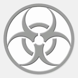 Biohazard Grey Round Sticker