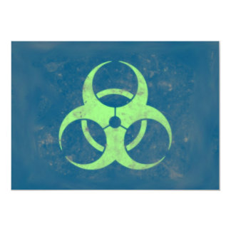 Biohazard Lime Green Blue Background Card