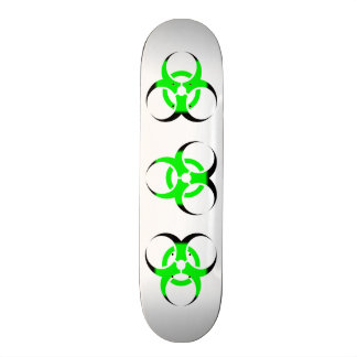 Biohazard Symbol Zombie Green and Black on white Skateboard Decks