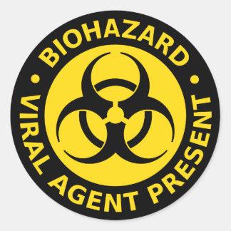 Biohazard Virus Warning Classic Round Sticker