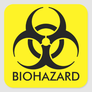 Biohazard Warning Square Sticker