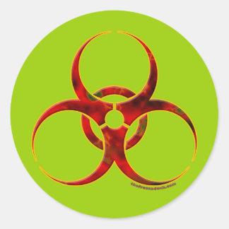 Biohazard Warning Symbol Round Sticker