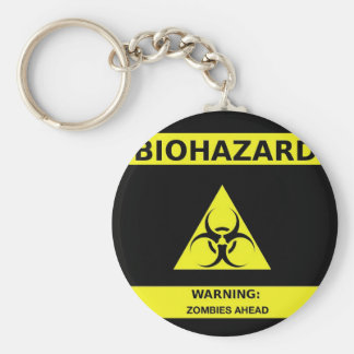 Biohazard zombie basic round button key ring