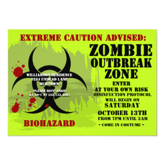 Biohazard Zombie Party2 Invitations