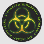 Biohazard Zombie Warning Round Stickers