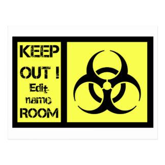 Biohazrd room sign postcard