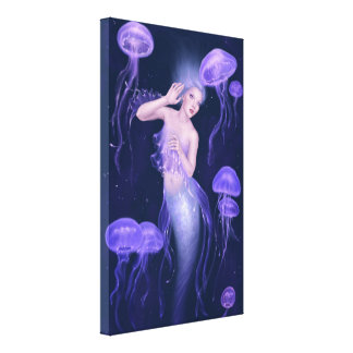 Bioluminescence Mermaid Wrapped Canvas Print