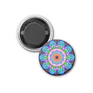 Bioluminescent Flower Mandala 3 Cm Round Magnet