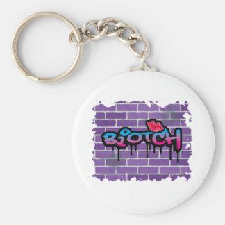 biotch graffiti design basic round button key ring