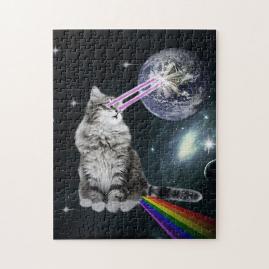 Bioworld Laser Eyes Space Cat Jigsaw Puzzle