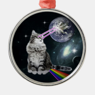 Bioworld Laser Eyes Space Cat Silver-Colored Round Decoration