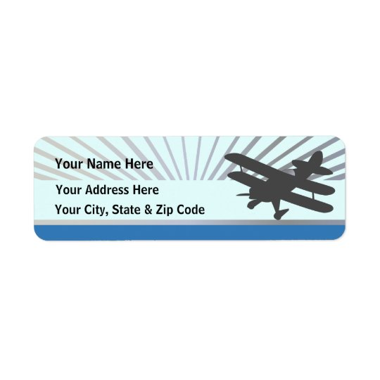 Biplane Aeroplane Return Address Label