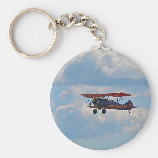 Biplane in Flight Keychain