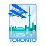 Biplane Over Toronto Retro Design