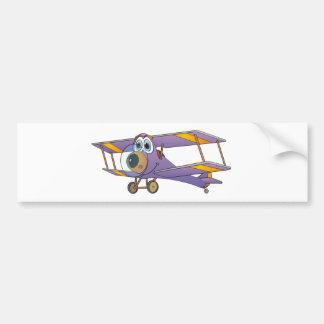 Biplane Purple Cartoon Bumper Sticker