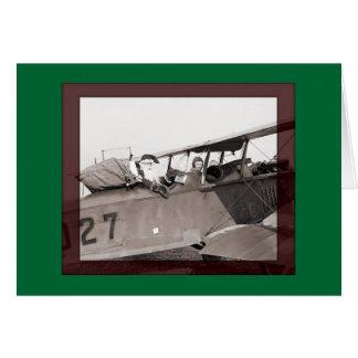 Biplane Santa Card