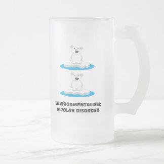 bipolar bears frosted glass beer mug
