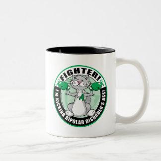 Bipolar Disorder Cat Fighter Two-Tone Coffee Mug