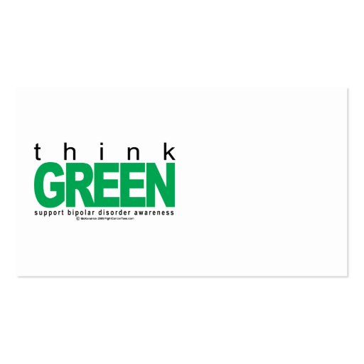 Bipolar Disorder THINK Green Business Card