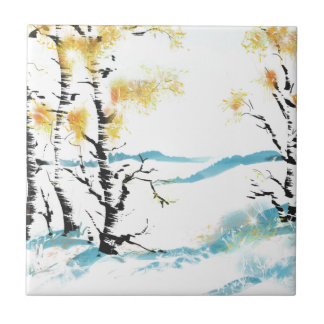 Birch and bunny ceramic tile