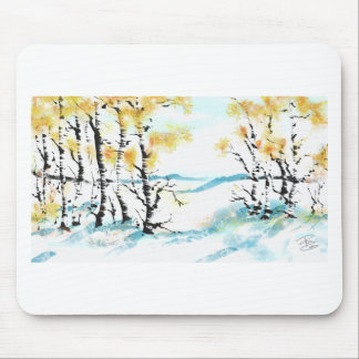Birch and bunny mouse pad