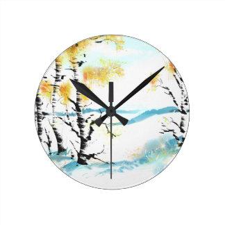 Birch and bunny round clock