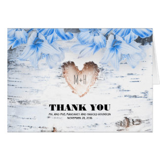 Birch Bark Heart Rustic Country Wedding Thank You Card