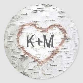 Birch Bark Heart Rustic Wedding Classic Round Sticker