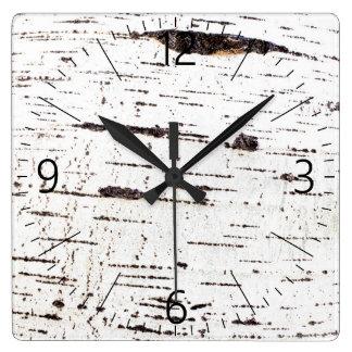 Birch bark pattern square wall clock