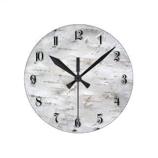 Birch bark round clock