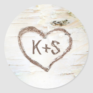 Birch Bark Rustic Tree Wedding Classic Round Sticker