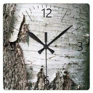 Birch bark square wall clock