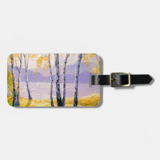 Birch by the river luggage tag