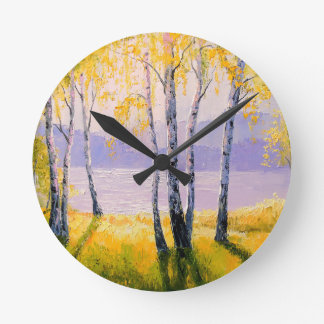 Birch by the river round clock