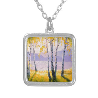 Birch by the river silver plated necklace