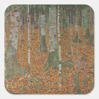 Birch Forest by Gustav Klimt, Vintage Art Nouveau Square Stickers