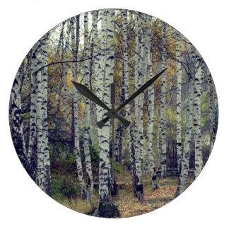 Birch Forrest Autumn Photo Round  Wall Clock
