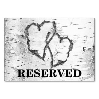 Birch Hearts Reserved Wedding Sign Table Card