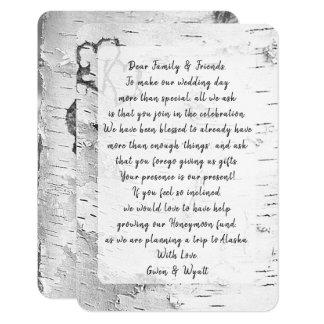 Birch Tree Bark Wishing Well Wording Wedding Cards
