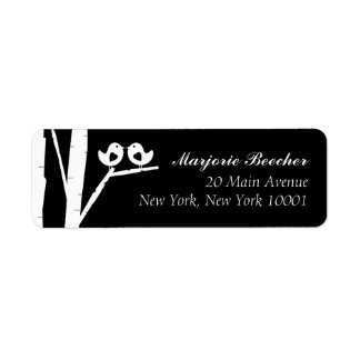 Birch Tree Birds Address Labels Black