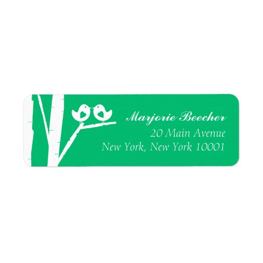 Birch Tree Birds Address Labels Seaglass Green