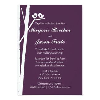 Birch Tree Birds Wedding Invitation - Violet Plum