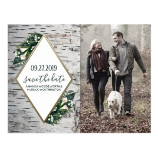 Birch Tree Botanical Wedding Save the Date Cards