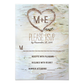 Birch tree heart initials rustic wedding RSVP card 9 Cm X 13 Cm Invitation Card