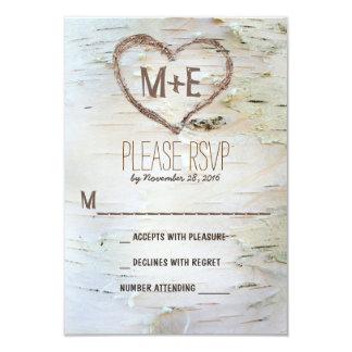 Birch tree heart initials rustic wedding RSVP card 9 Cm X 13 Cm Invitation Card