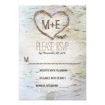 Birch tree heart initials rustic wedding RSVP card Announcements