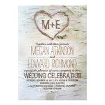 Birch tree heart rustic wedding invitations personalized invite